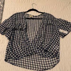 White and navy checkered shirt